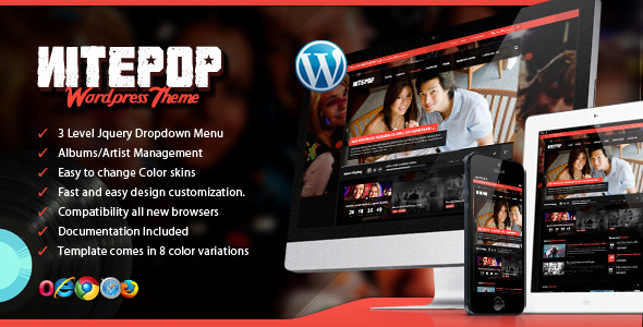 ThemeForest Nite Pop Music Band Artist Wordpress Theme 4411469