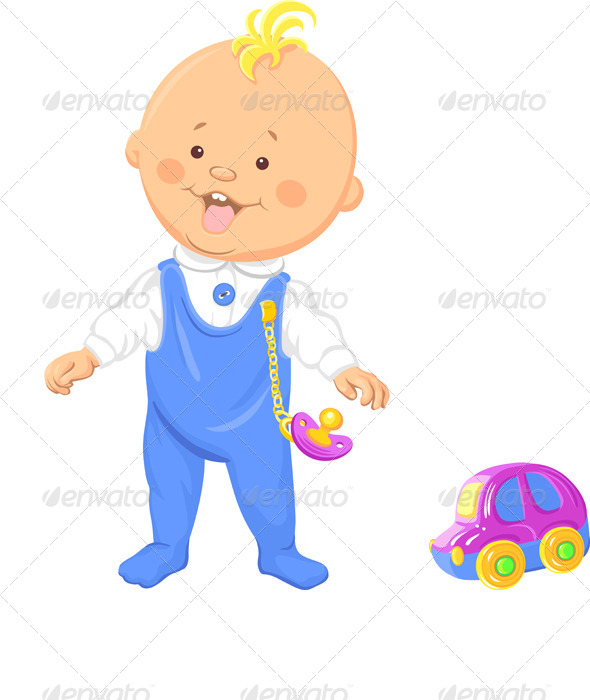 GraphicRiver Vector Baby Boy Learns to Walk 4412677