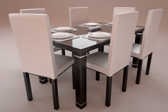 3DOcean Realistic Dinning Furniture Set 4413229