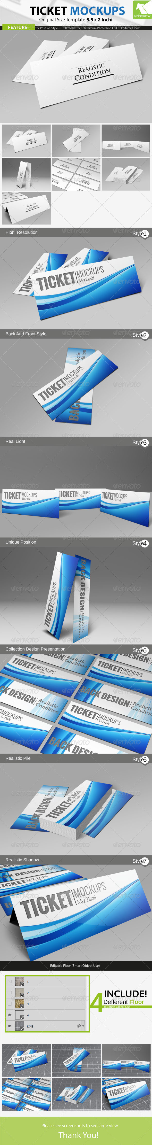 GraphicRiver Ticket Mockups 4413385