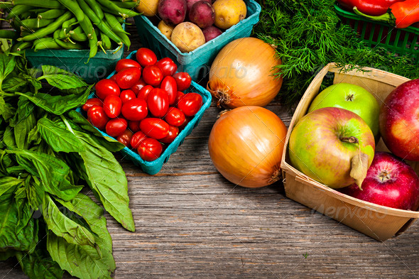 Fresh market fruits and vegetables - Stock Photo - Images