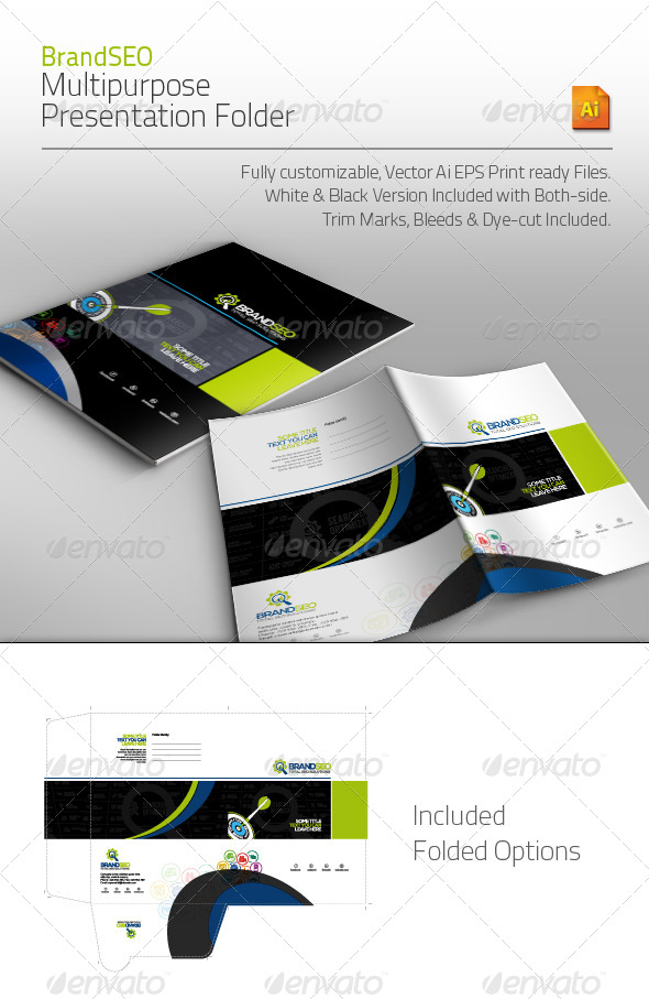 BrandSEO Multipurpose Presentation Folder - Stationery Print Templates