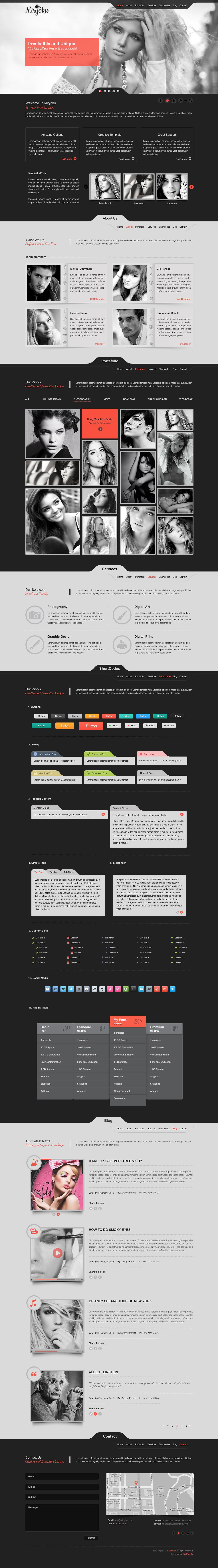 Miryoku one page psd template