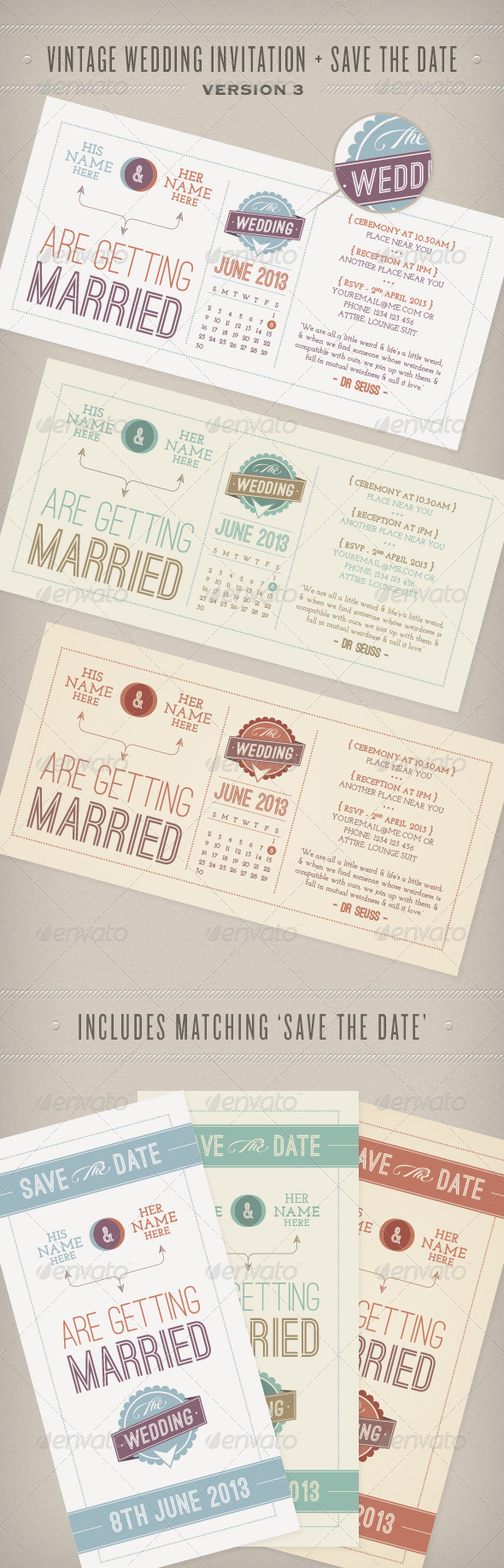 GraphicRiver Vintage Wedding Invitation & Save the Date 4414202