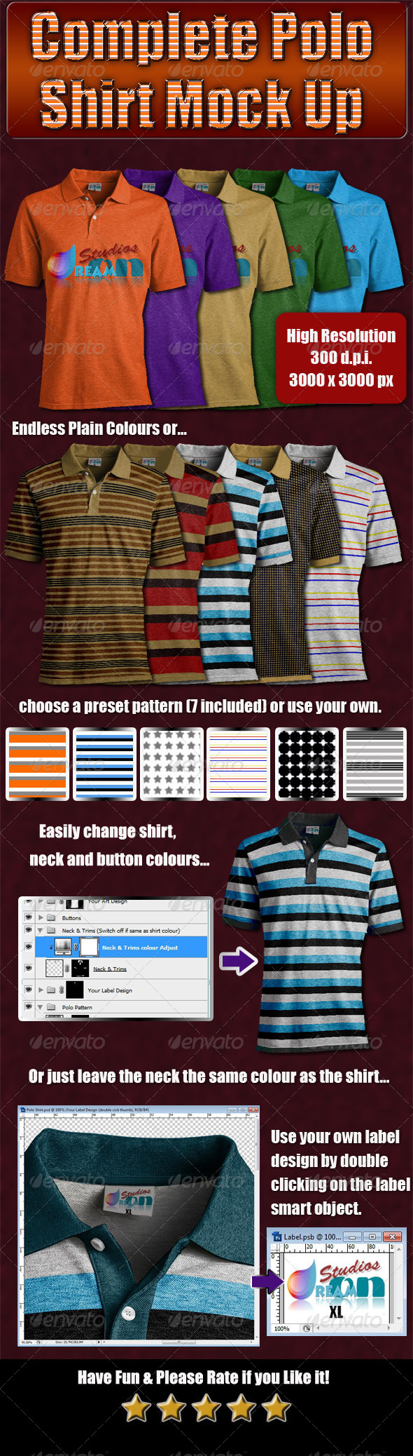 Complete Polo Shirt Mock Up - T-shirts Apparel