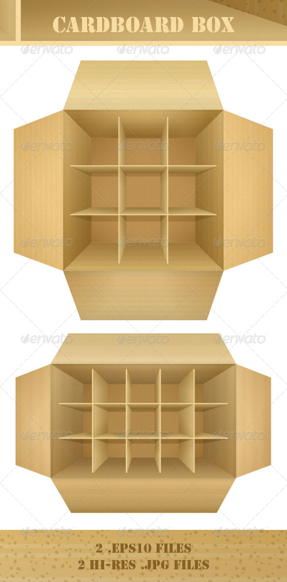 GraphicRiver Open Empty Corrugated Cardboard Packaging Box 4414251