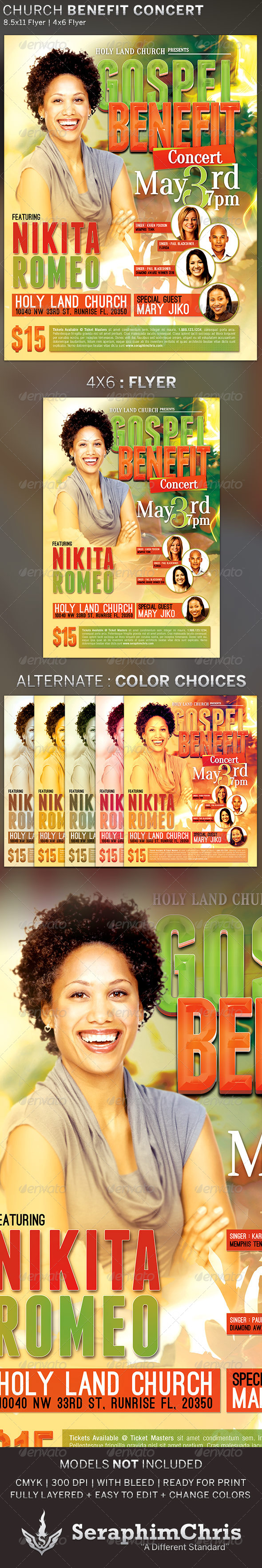 Gospel Benefit Concert: Church Flyer Template - Church Flyers