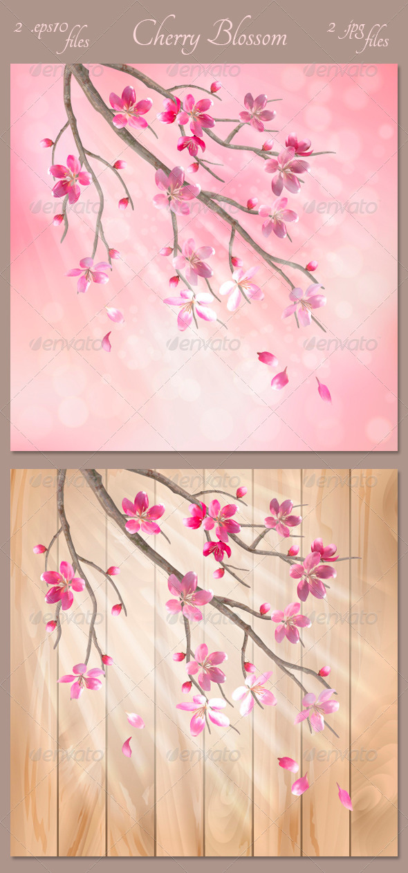 GraphicRiver Spring Vector Tree Branch Cherry Blossom Flowers 4414754