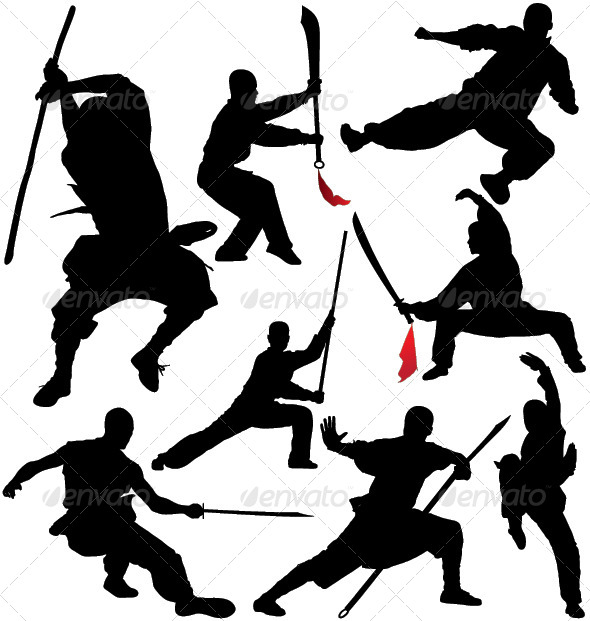 GraphicRiver Kung Fu Shaolin Silhouettes 4415124