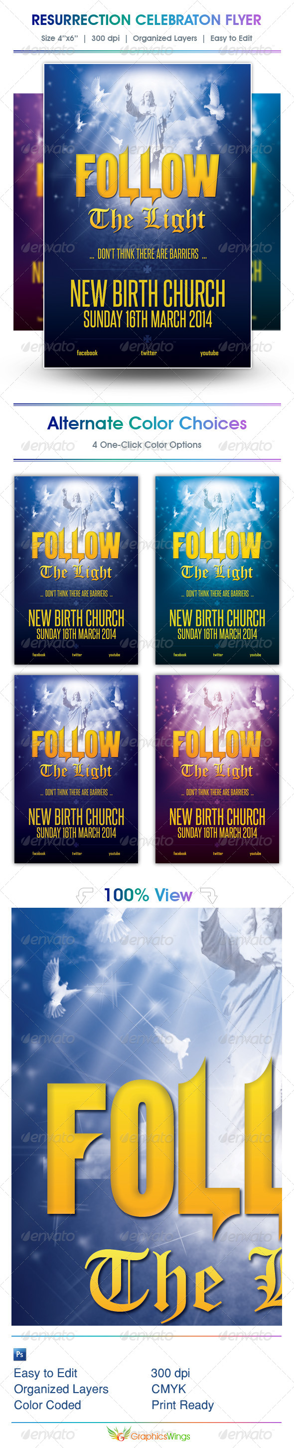 GraphicRiver Follow The Light Church Flyer Template 4415216