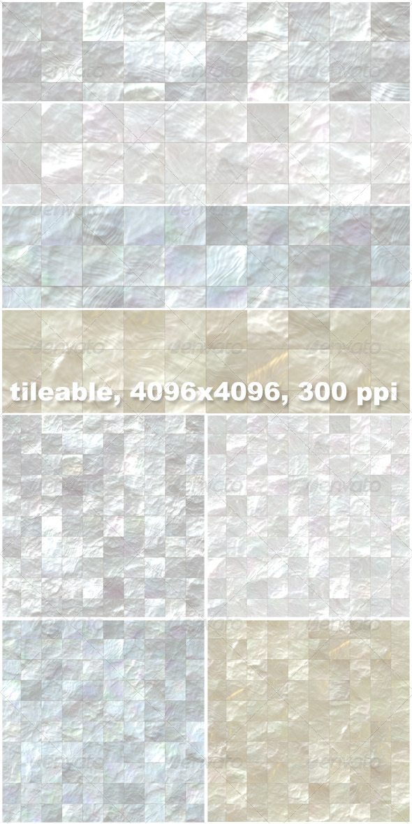 4 Mother of Pearl Mosaic Tiles