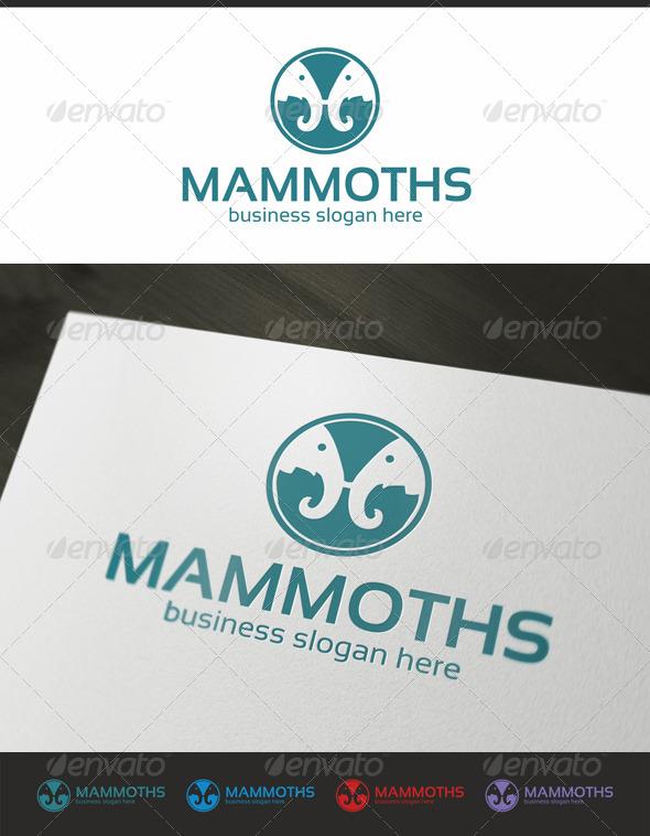 Two Mammoths - Animals Logo Templates