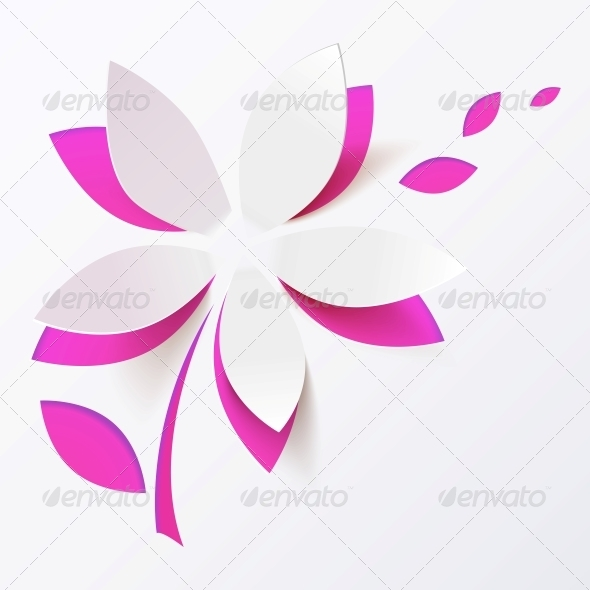 GraphicRiver Pink Paper Flower Vector Greeting Card Template 4415997