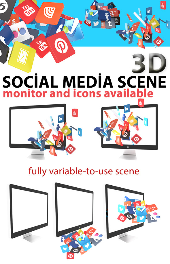 3DOcean Monitor Scene with 3D Social Icons 4416357