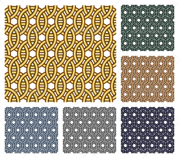 GraphicRiver Entwined Metal Rings Seamless Patterns 4416466