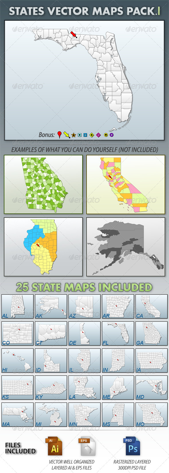 United States Vector Maps Pack I