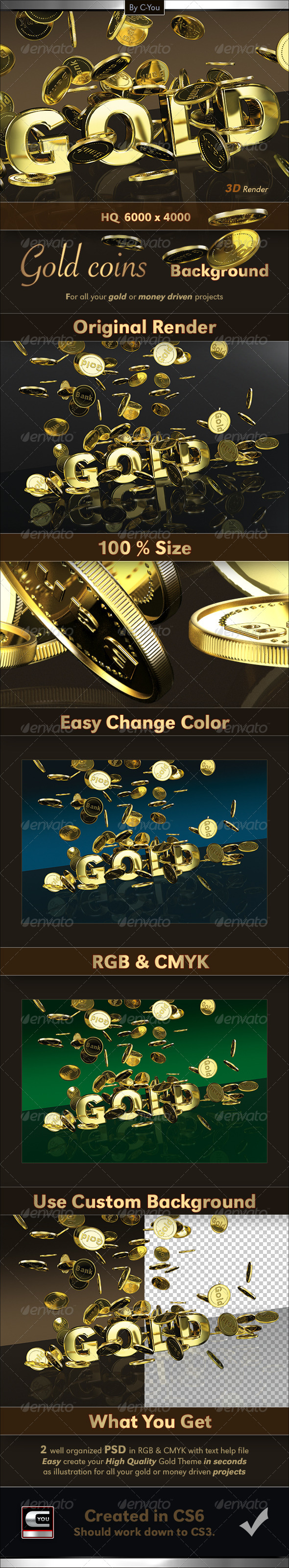 GraphicRiver Gold Coins 3D Background 4418248