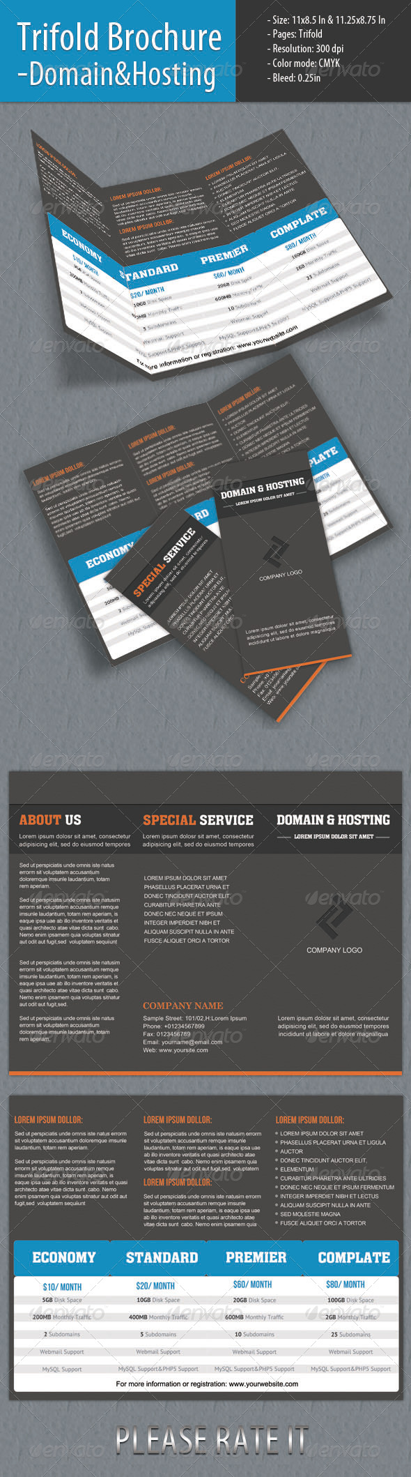 GraphicRiver Trifold Brochure Domain & Hosting 4418428