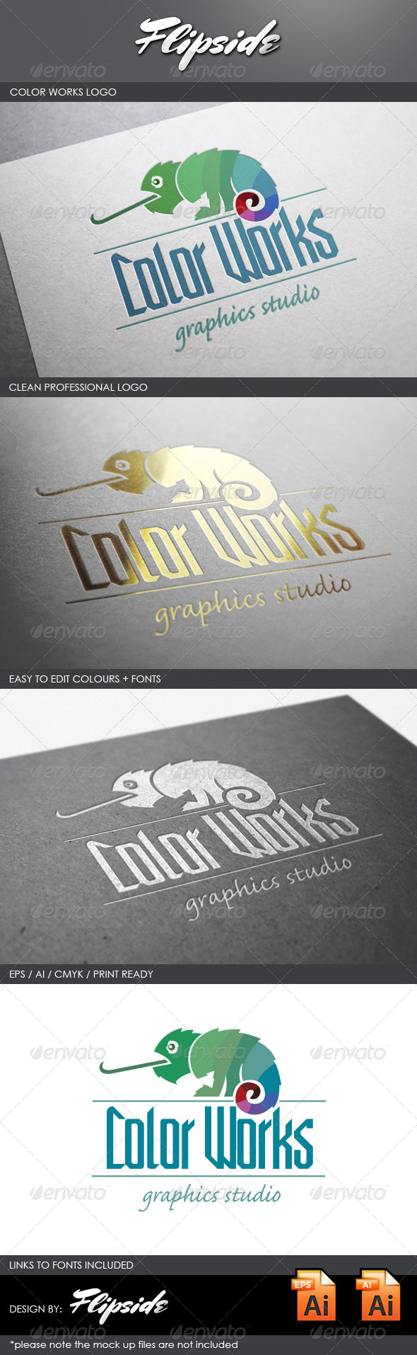 GraphicRiver Color Works Chameleon Logo 4327969