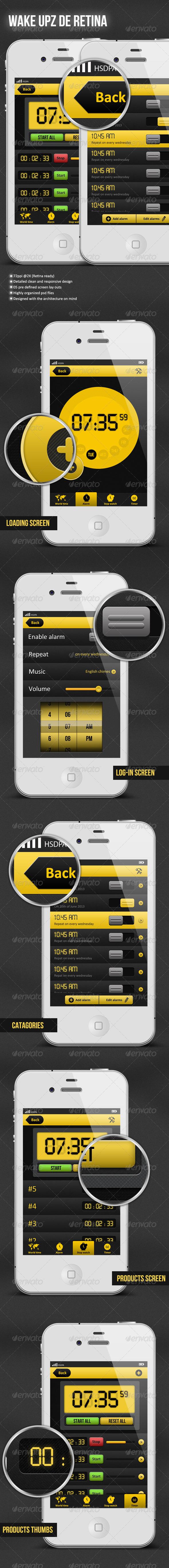 GraphicRiver Wake Upz De Retina Alarm Application GUI Pack 4418852