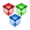 Red Green Blue Glass Cubes Isolated - PhotoDune Item for Sale