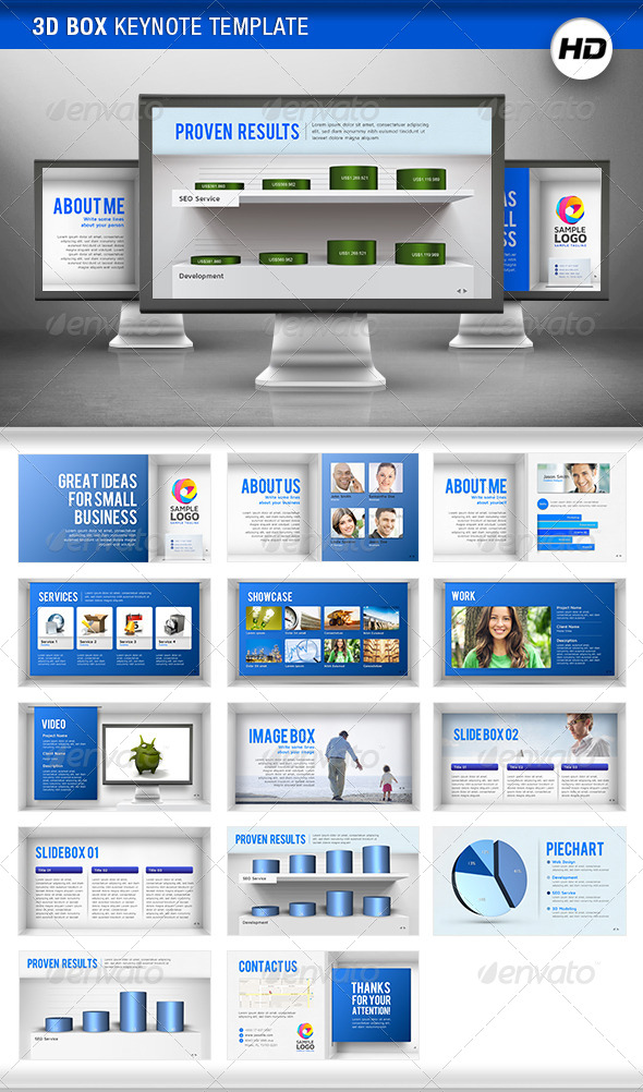 GraphicRiver 3D Box Keynote Template 4419293