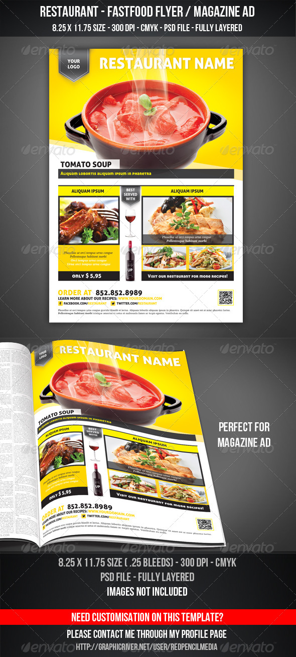 GraphicRiver Restaurant Fastfood Flyer Magazine AD 4320552