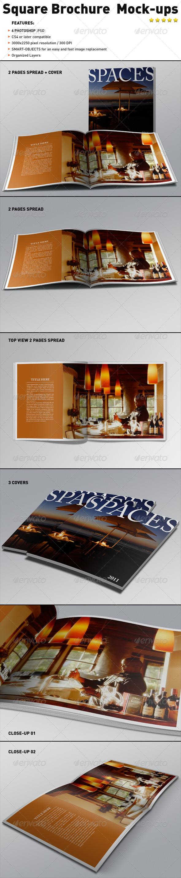 Realistic Square Brochure Mock-ups Templates - Brochures Print