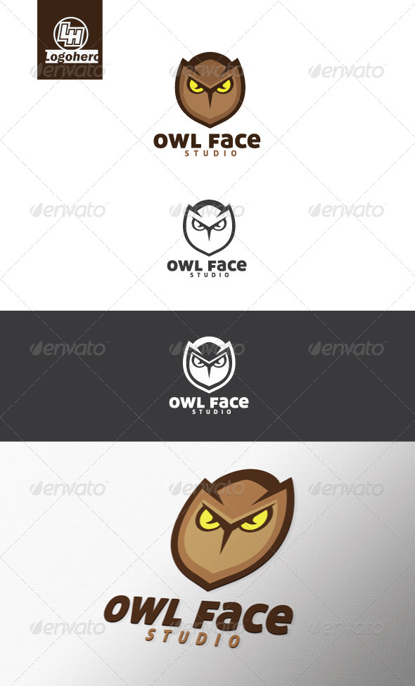 Owl Face Logo Template - Animals Logo Templates