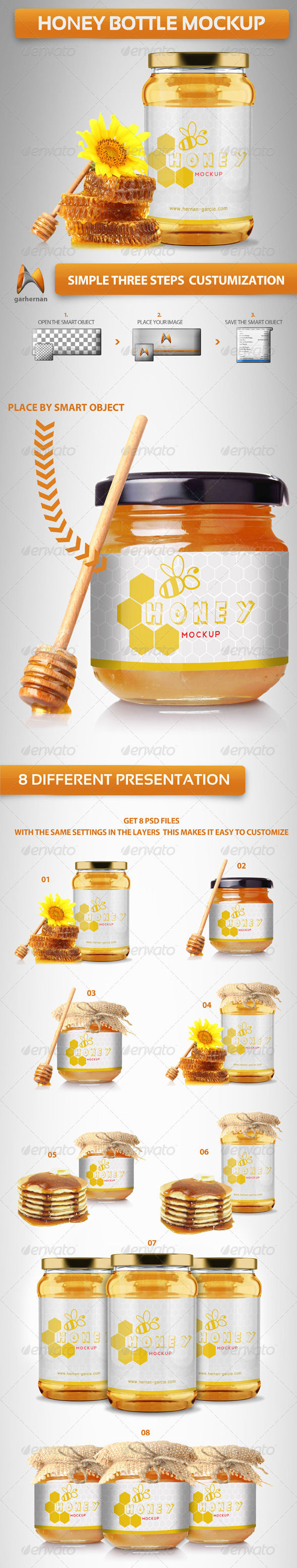 GraphicRiver Honey Bottle Mockup 4420816