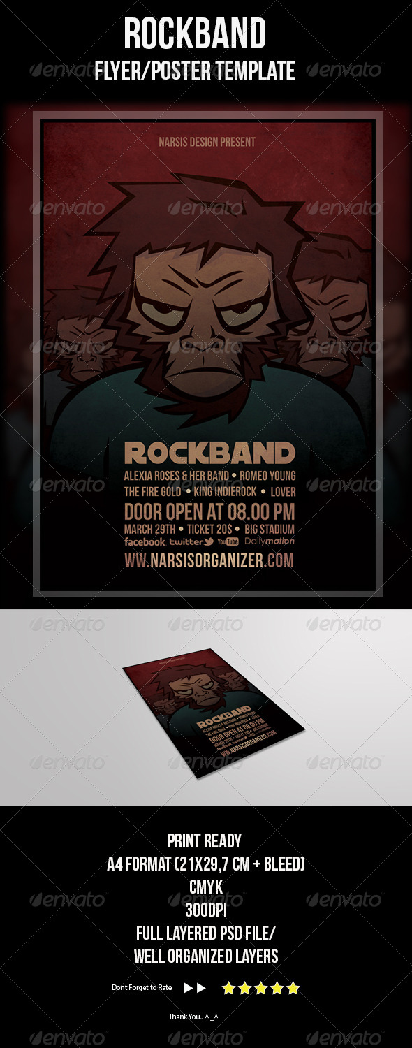 Rock Band Flyer Template - Concerts Events