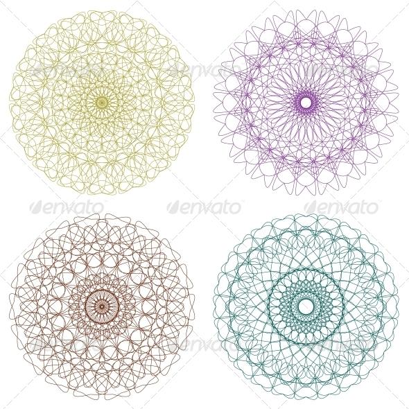 GraphicRiver Set of Vector Guilloche Rosettes 4421100