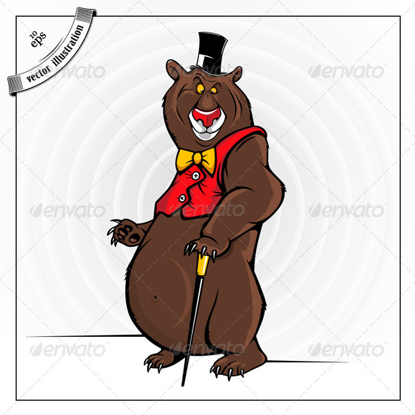 Cheerful Cartoon Bear With The Hat