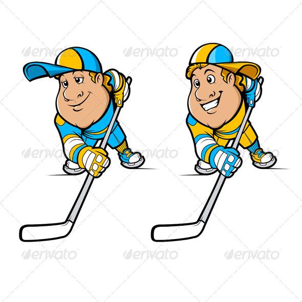 GraphicRiver Cartoon Hockey Players Set 4421179