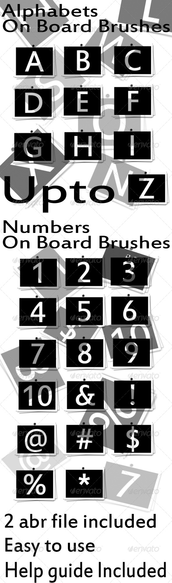 GraphicRiver Alphabets & Numbers On Board Brushes 4421484