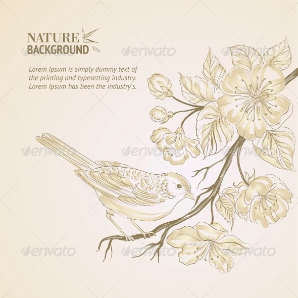 GraphicRiver Hand Drawn Bird on Sacura Branch 4422433