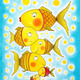 Group of gold fish, child's drawing, watercolor painting on paper - PhotoDune Item for Sale