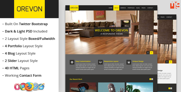 ThemeForest Orevon Multipurpose HTML5 Responsive Template 4422907