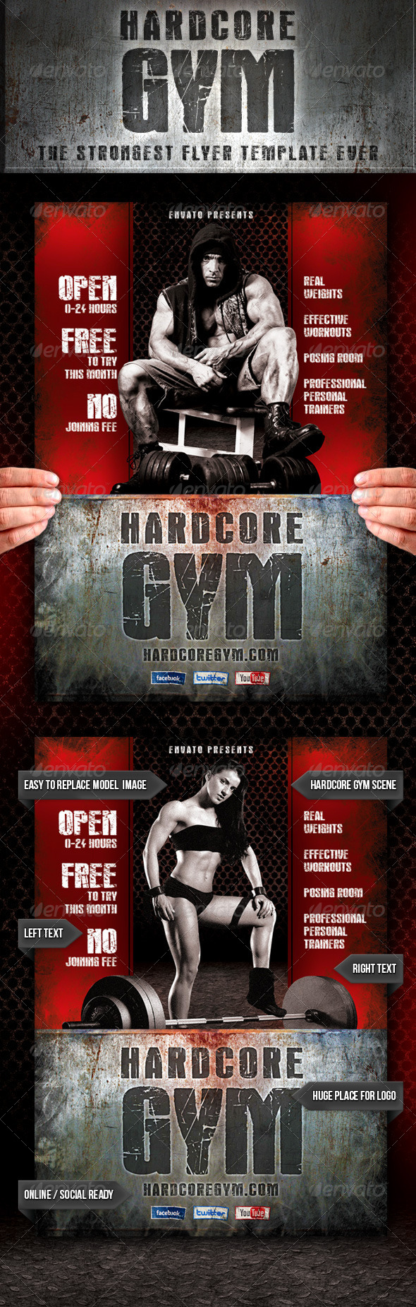 Hardcore Gym Flyer - Commerce Flyers