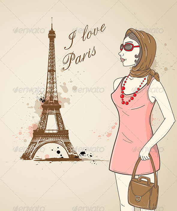 GraphicRiver Girl in Paris 4424048
