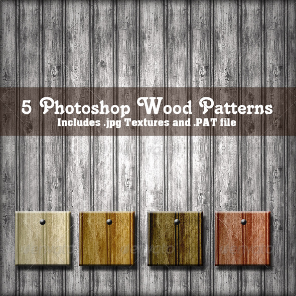 GraphicRiver 5 Photoshop Wood Patterns Set 02 4379142