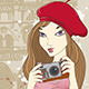 Girl with Camera  in Paris - GraphicRiver Item for Sale