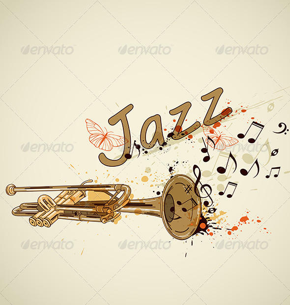 GraphicRiver Background with Trumpet and Notes 4424364