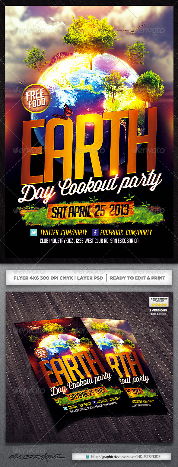Earth Day Flyer Design - Clubs & Parties Events