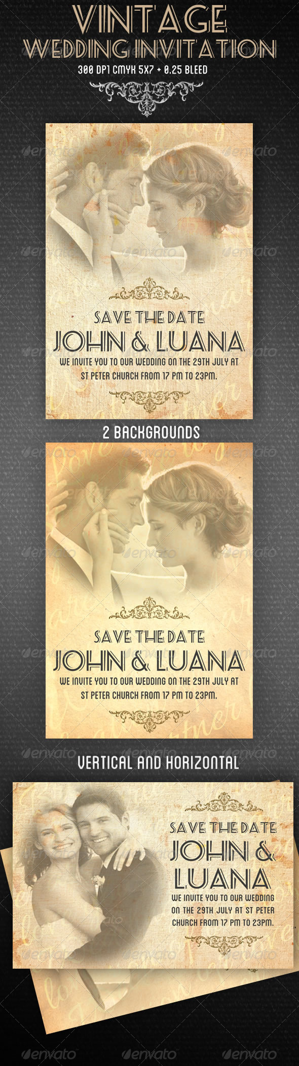 GraphicRiver Vintage Wedding Invitation 4424727