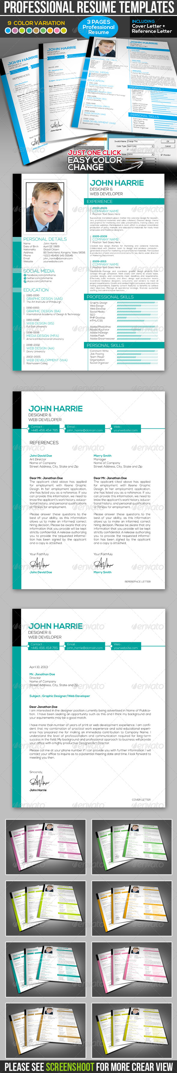 GraphicRiver Professional Resume Templates 4424915