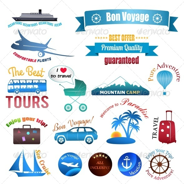 Set of Labels, Badges and Stickers on Travel - Travel Conceptual