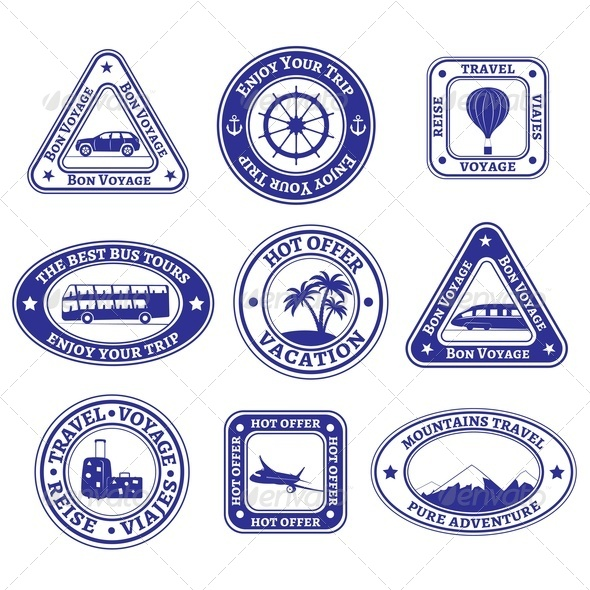 Set of Travel and Tourism Stamps and Badges - Travel Conceptual