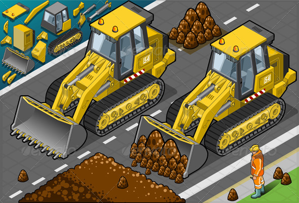 GraphicRiver Isometric Yellow Bulldozer in Front View 4426111