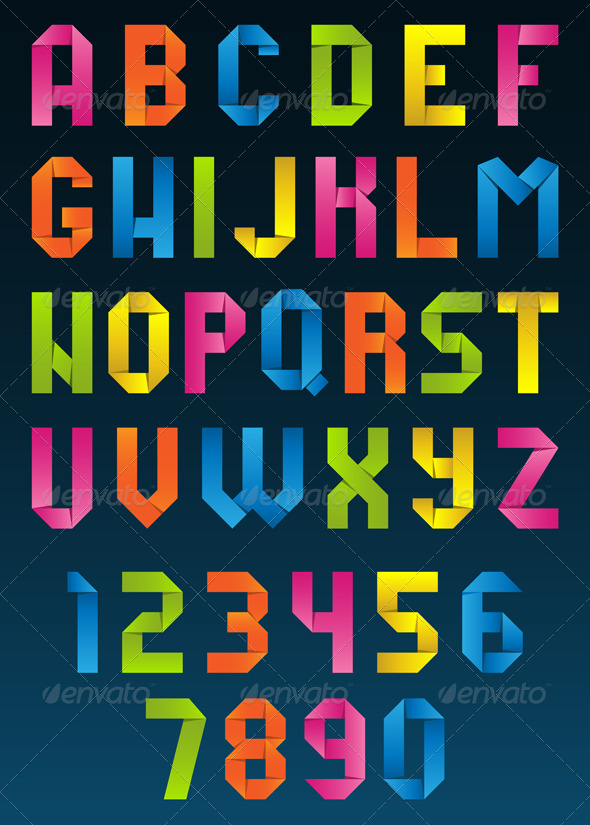 GraphicRiver Origami Letters and Numbers 4426114